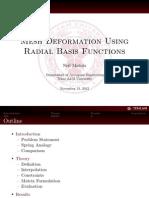 Mesh Deformation Using Radial Basis Functions