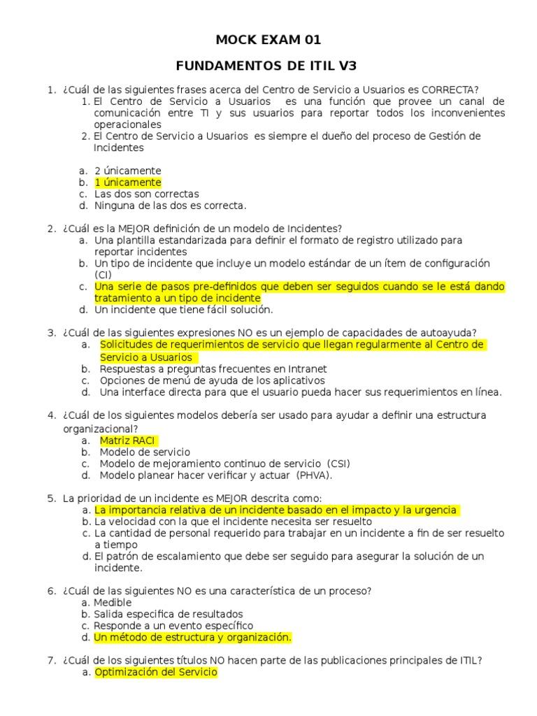 Curso Fundamentos ITIL MOCK EXAM 1.doc