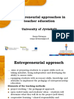 Entrepreneurial Approaches in Teaching Education