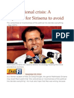 Constitutional Crisis a Claymore for Sirisena to Avoid