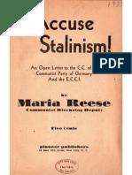 I Accuse Stalinism 1933 - Maria Reese