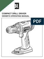 Ryobi Cordless Drill Manual