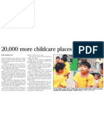 20,000 more childcare places by 2013, 19 Nov 2009, Straits Times
