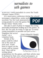 Young journalist to cover youth games, 19 Nov 2009, Straits Times