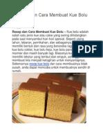 Resep Dan Cara Membuat Kue Bolu