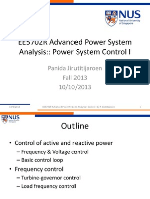 Xlc Electric Power System Control Theory