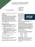 UT Dallas Syllabus for psy2317.002.07f taught by Nancy Juhn (njuhn)