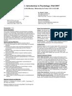 UT Dallas Syllabus for psy2301.002.07f taught by Shayla Holub (sch052000)