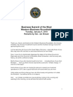 """Remarks by Gov. Jan Brewer """"Business Summit of the West"""" Jan 5, 2010"""