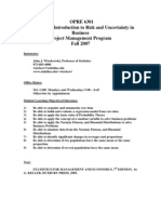 UT Dallas Syllabus for opre6301.pjm.07f taught by John Wiorkowski (wiorkow)