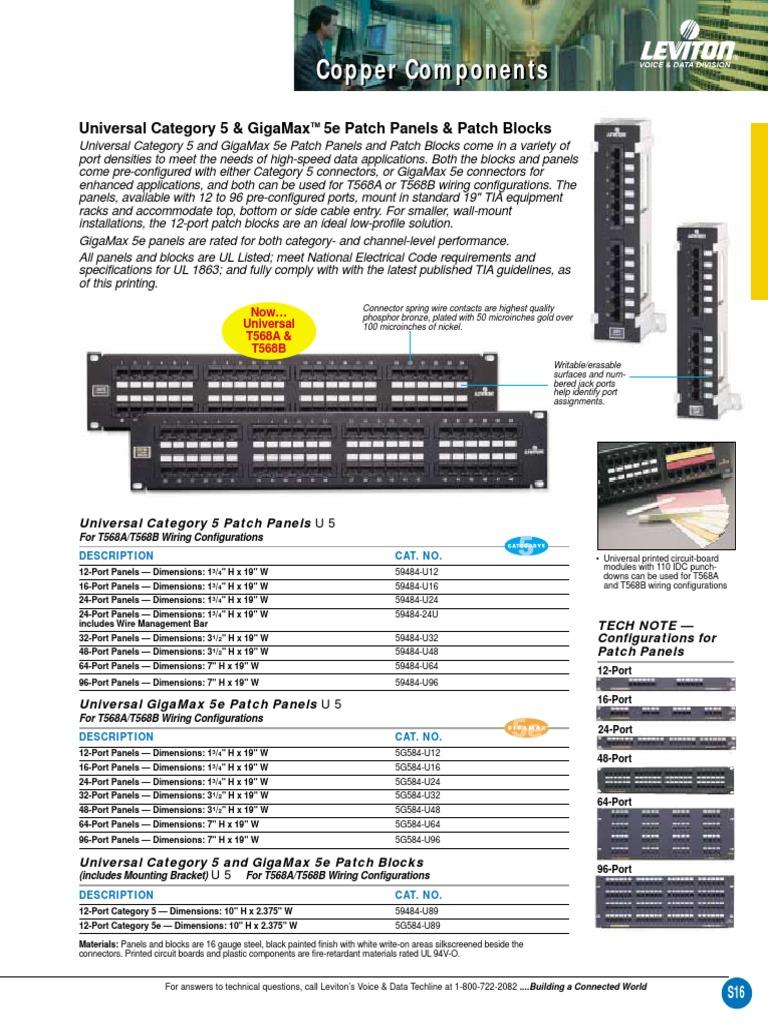 Leviton 47689-QP QuickPort 12-Port Multimedia Patch Block 10-Inch H X 2.375-Inch W