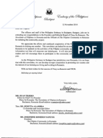 Letter for Mr. Ryan Tejero Dated 12 November 2014 from Philippine Embassy Budapest, Hungary