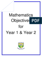 Mathematics Objectives Y1and2