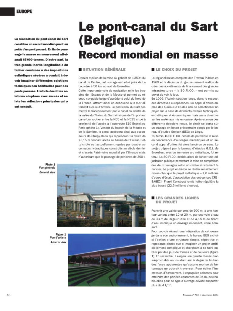 Le Pont Canal Du Sart Belgique Record Mondial En Masse