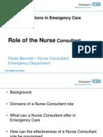 Role of the Nurse Consultant Paula Bennett