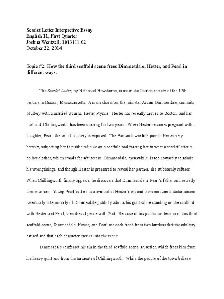 Interpretive essay scarlet letter the scarlet letter religious