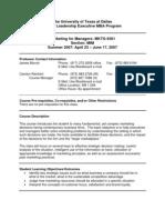 UT Dallas Syllabus for mkt6301.mim.07u taught by Anne Ferrante (ferrante)