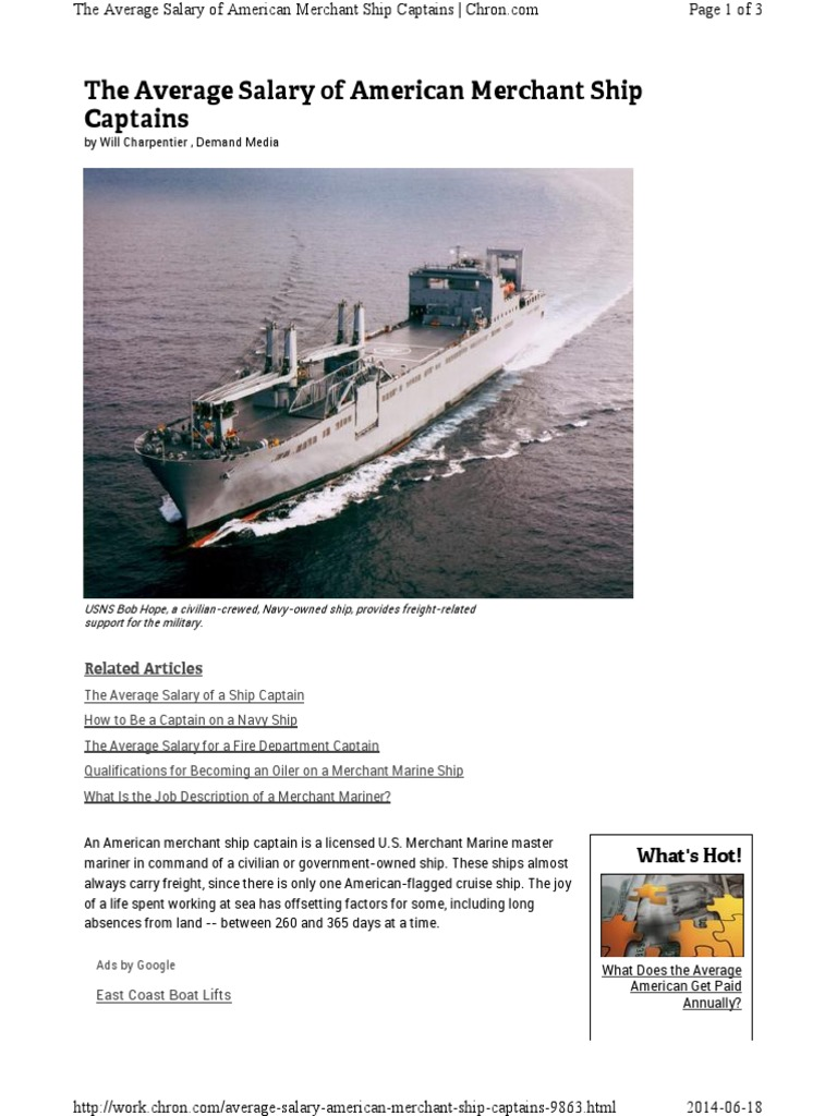 Average Salary American Merchant Ship Cap | Capitán del mar