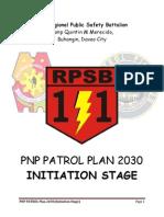 11th Regional Public Safety Battalion - PNP PATROL PLAN 2030 - Initiation Stage