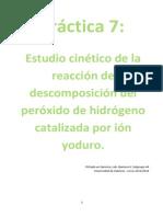Estudio cinético de la reacción de descomposición del peróxido de hidrógeno catalizada por ión yoduro.