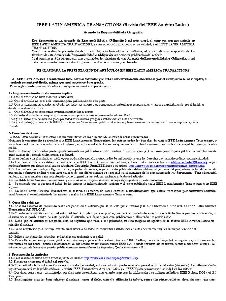 Reglas Exigidas Por La IEEE Latin America Transactions Para La ...