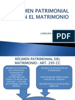 Regimen Patrimonial en El Matrimonio