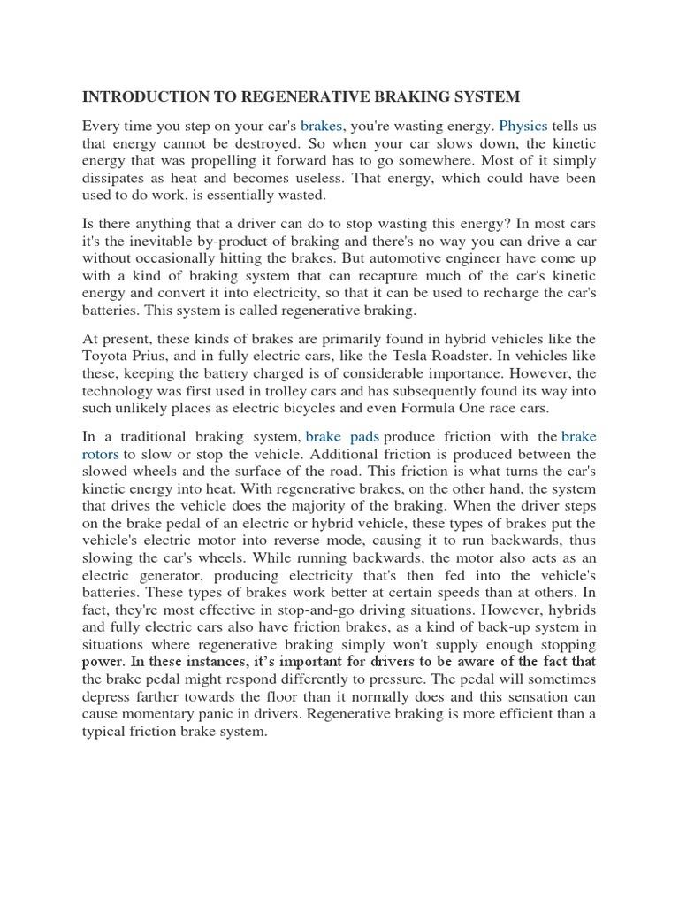 Introduction to Regenerative Braking System | Brake | Vehicles