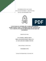 Guía Para El Control de Calidad Del Diseño Estructural y de La Construcción de Viviendas de Una y Dos Plantas de Mampostería de Bloque de Concreto