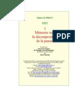 Maine de Biran, Mémoire Sur La Décomposition de La Pensée part 1