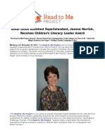 Alisal Union Assistant Superintendent, Jeanne Herrick, Receives Children's Literacy Leader Award