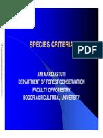 kriteria spesies konservasi