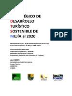 Plan Desarrollo Turistico Sostenible Mejia Pedts-m 2020