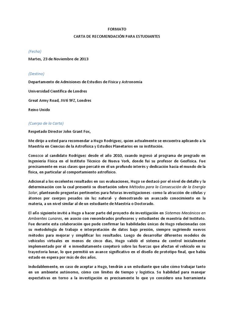 Modelo Carta Recomendacion Laboratorios Science Carta de recomendacion para estudiante