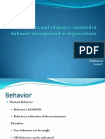 Processes and Strategies Involved in Behavior Management in Organizations