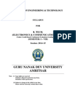 Btech Electronics and Communication Engg Semester i to Viii Cbcegs gndu