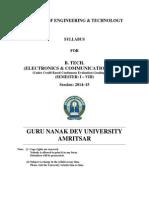 Btech Electronics and Communication Engg Semester i to Viii Cbcegs gndu
