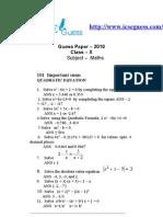 Imp Sums Icse x --Quadratic Equations
