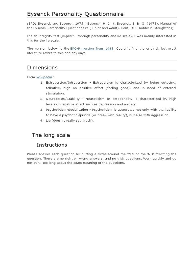 eysenck personality questionnaire extraversion and introversion rh scribd com eysenck personality questionnaire manual pdf Eysenck Personality Theory