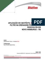 Aplicação Do Geotêxtil Bidim Como Filtro Na Drenagem Profunda Da Rodovia Rs-239 - Novo Hamburgo - Rs (Tecnico)