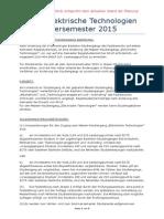 Master Elektrische Technologien Stand Der Planung SS 2015