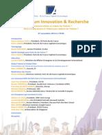 IXème Forum Innovation - Programme - FINALE