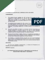 Decreto de Ley Transitoria Para Facilitar Cumplimiento Voluntario de Obligaciones Tributarias y Aduaneras Con Formato a Iniciativa 22081
