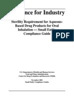Sterility Guidance FDA