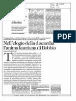 Zagrebelsky, Nell'Elogio Della Discordia l'Anima Kantiana Di Bobbio La Rep 29.10.2014