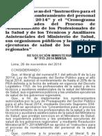 """Resolución Ministerial. 915-2014. Modifican anexo del """"Instructivo para el proceso de nombramiento del personal de la salud 2014"""" y el """"Cronograma de actividades del proceso de Nombramientos"""