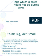 101 Things Which a Sales Person Should Not