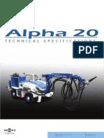 ALPHA 20 Especificaciones Tecnicas