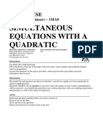 101 Simultaneous Equations With a Quadratic