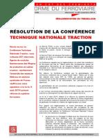 RÉSOLUTION DE LA CONFÉRENCE  TECHNIQUE NATIONALE TRACTION