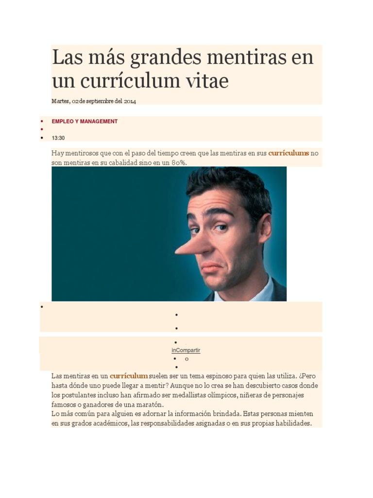 Las Mas Grandes Mentiras En Un Curriculum Vitae